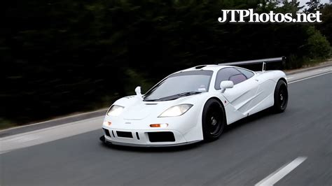 White McLaren F1 driving with revs and peeling out - YouTube