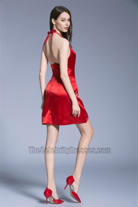 New Short Mini Red Dress Halter Backless Party Cocktail