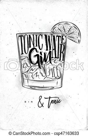 Gin tonic cocktail lettering tonic water, gin, ice in