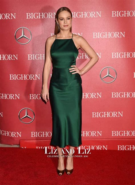 Brie Larson Green Satin Cocktail Party Dress Palm Springs