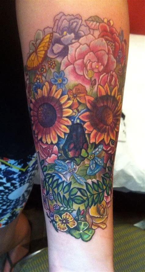 Wild Flower Skull- Tattoo done by Sean Ambrose at Arrows